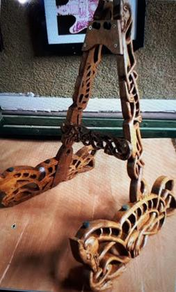 Blueberry Hand Carved Guitar Stand - 60 day delivery - Celti