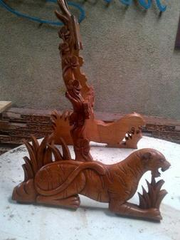 Blueberry Hand Carved Guitar Stand - 60 day delivery - Tiger