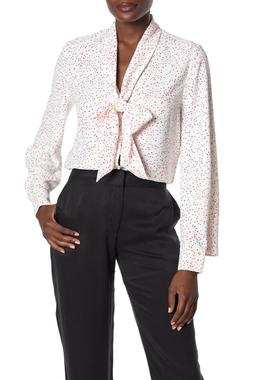 Equipment Haty Neck Tie Printed Top Blouse in White/Scarlet