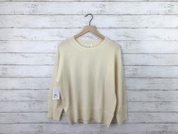 Equipment Ivory Melanie Crew Neck Cashmere Wool Knit Sweater
