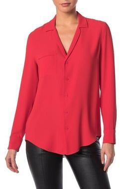 keira blouse l collared pocket long sleeve