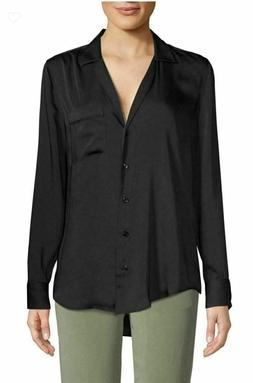keira true black silk button down blouse