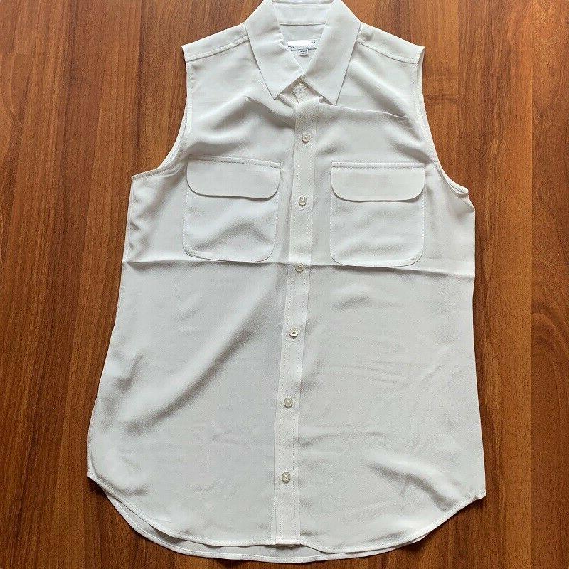 $195 Sleeveless Slim Silk White