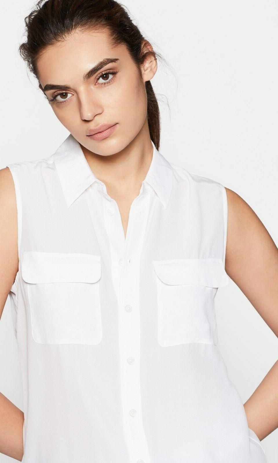 195 sleeveless slim signature silk shirt bright