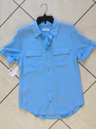 $198 Equipment Short Sleeve Slim Blouse Sz S