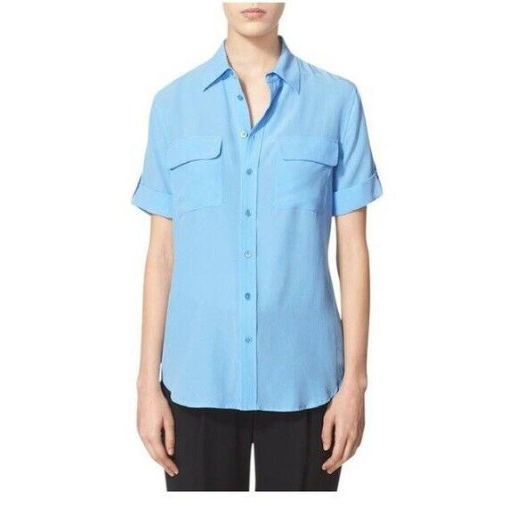 $198 Short Sleeve Slim Signature Blouse Parisian Blue S