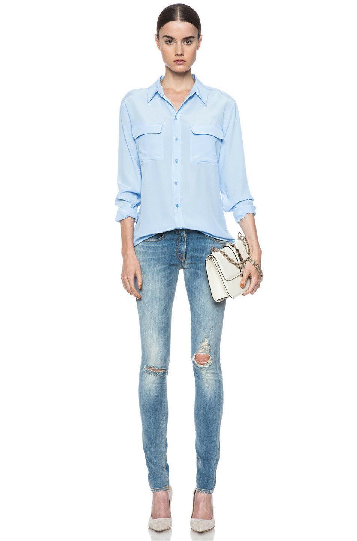 $228 EQUIPMENT Sleeve Shirt Blouse Blue Sz