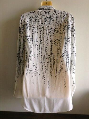 $230 Silk Blouse White Black & Floral Sz S ~