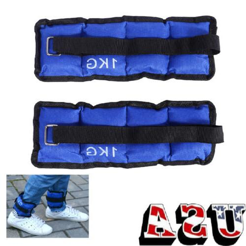 2X 1KG Ankle Wrist Leg Weights Equipment Fitness Strength Tr