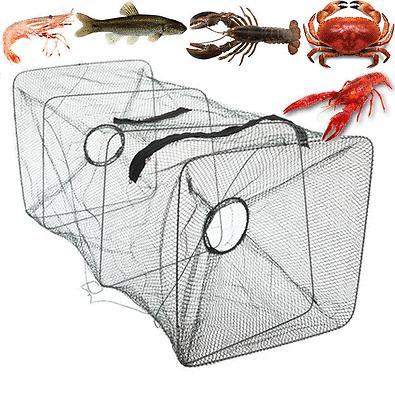 Fishing Bait Trap Crab Net Crawdad Shrimp Cast Dip Cage Fish Minow Foldable