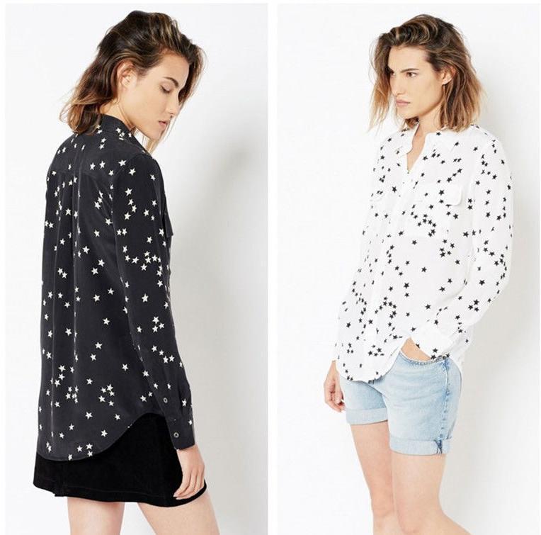 AUTH Equipment $248 Slim Signature Star Print Silk Blouse, H