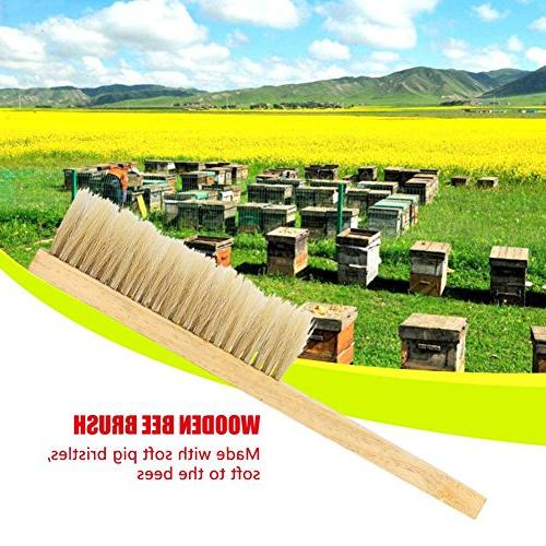Fdit Bristle Hair Hive Brush Comb Tool with Wooden Handle Beekeeping