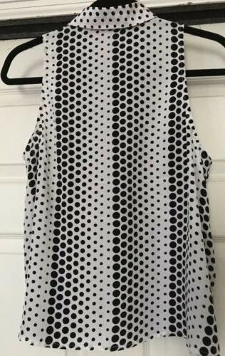 Equipment Polka Dot Slvless Dwn Collared Blouse