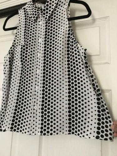 Equipment Femme Black&White Dot Silk Slvless Dwn Blouse S