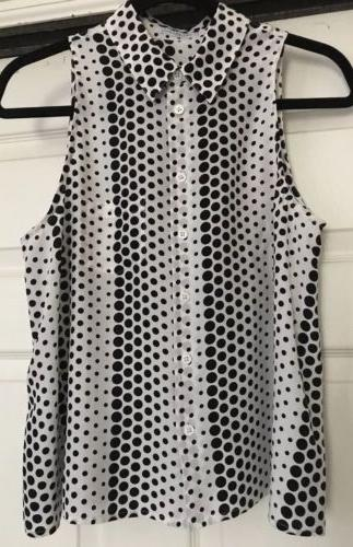 black and white polka dot silk slvless