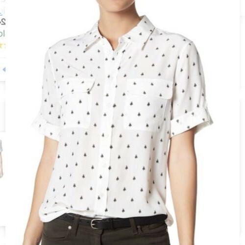 button down bee print silk blouse size