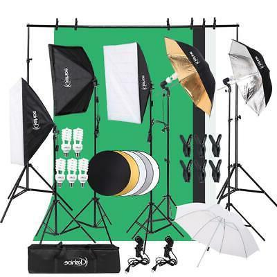 Digital Photography Lighting Kit 3 Softbox 5 Umbrella Backdr