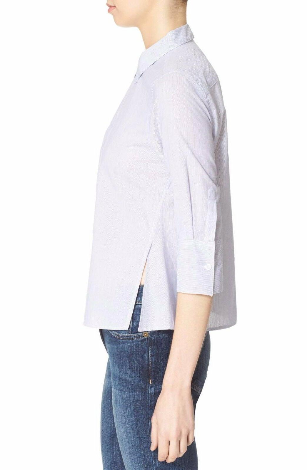 Equipment 'Esme' Microsoft Shirt Size Blue/White NWT