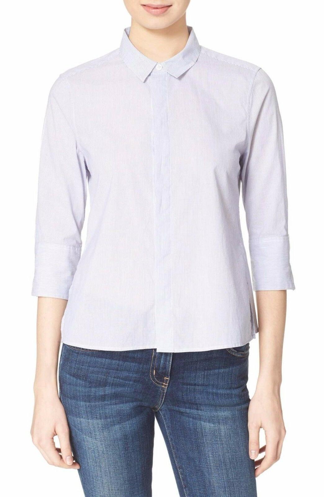 esme microsoft cotton shirt size xs blue