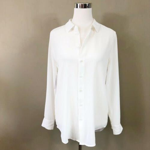 Equipment Shirt Medium Bright White 100% Silk