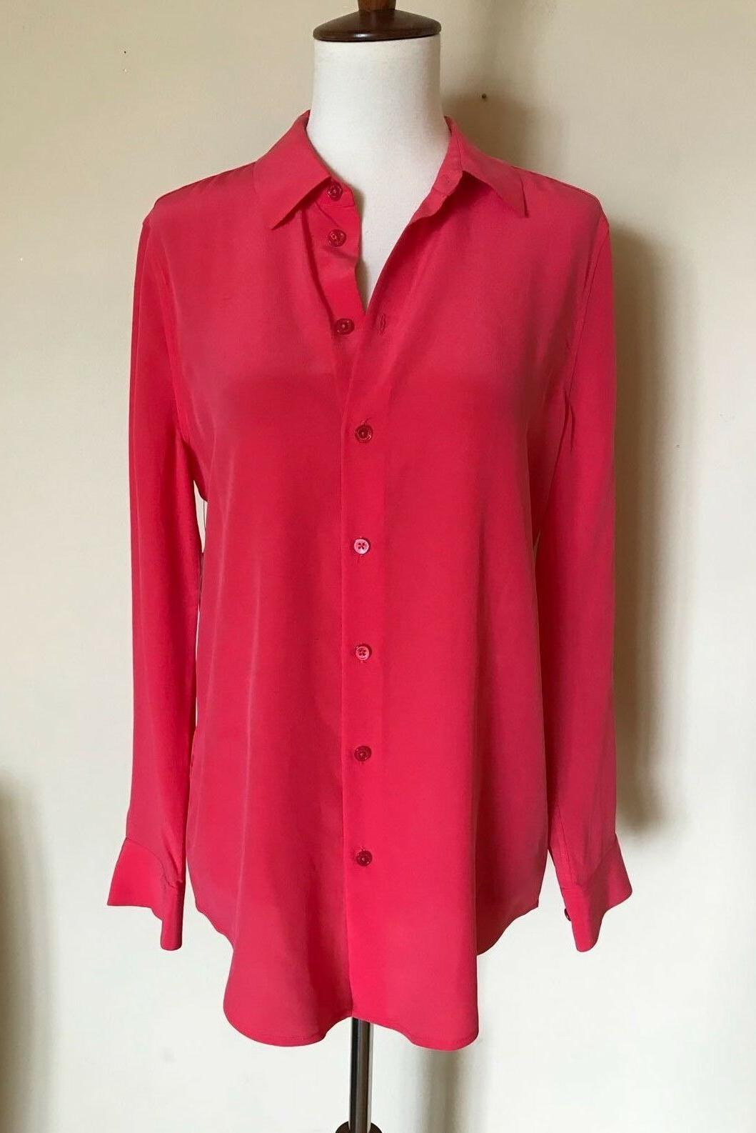 essential buttondown blouse charged pink size xs