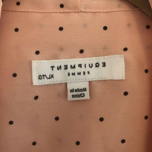 EQUIPMENT FEMME Tie Polka Dot-Print Blouse, Rose
