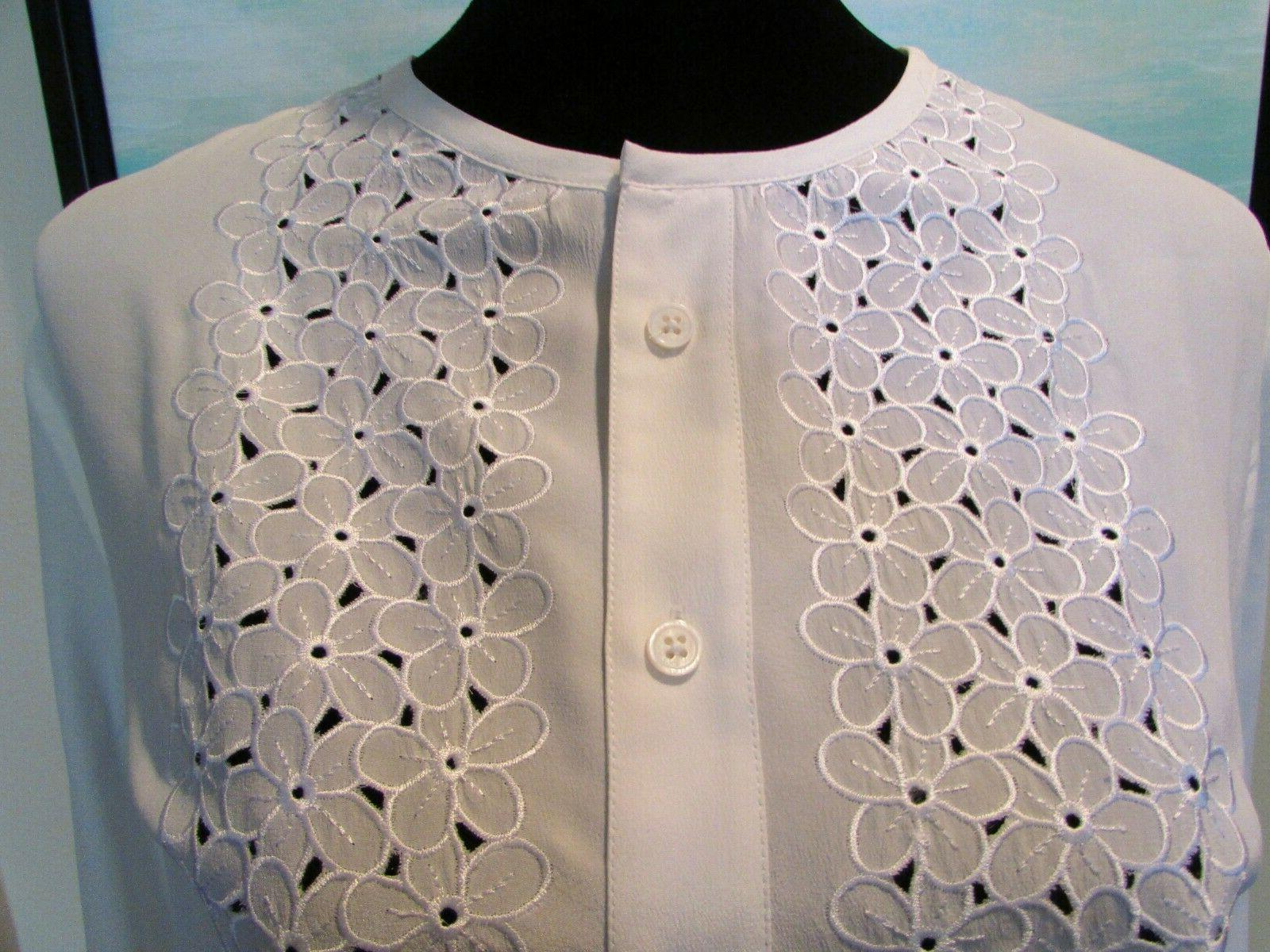 EQUIPMENT Femme White Embroidery Floral Sz