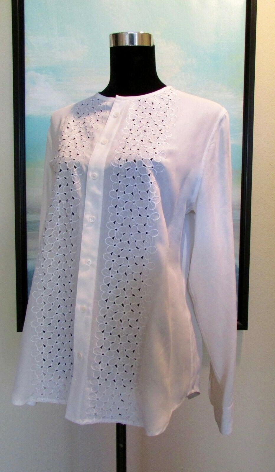 femme white julian embroidery floral silk blouse
