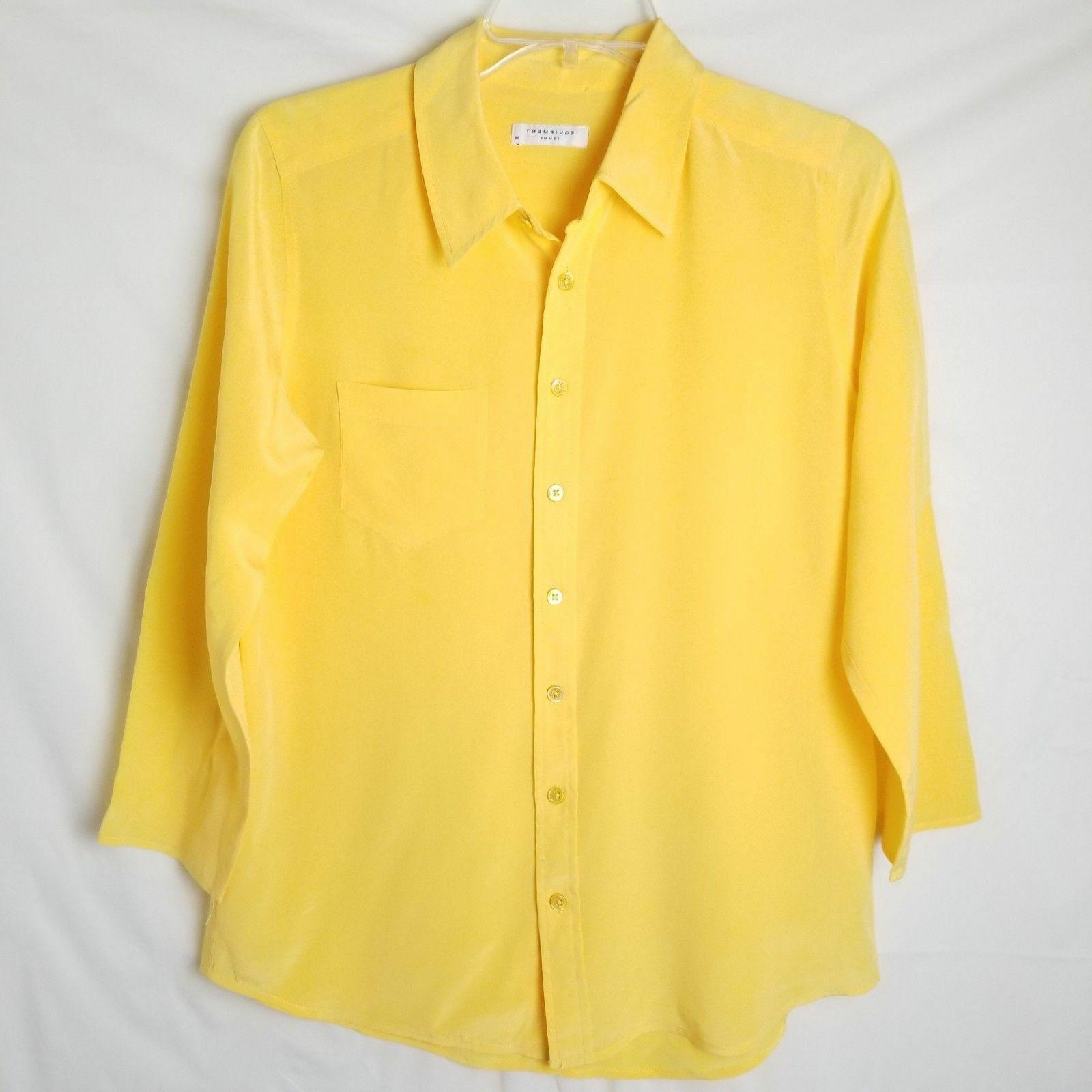 Equipment Femme Yellow 100% Silk Blouse Top Shirt