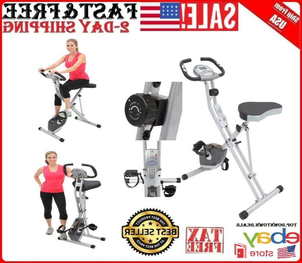 Exerpeutic Folding Magnetic Upright Bike with Hand Pulse Sen