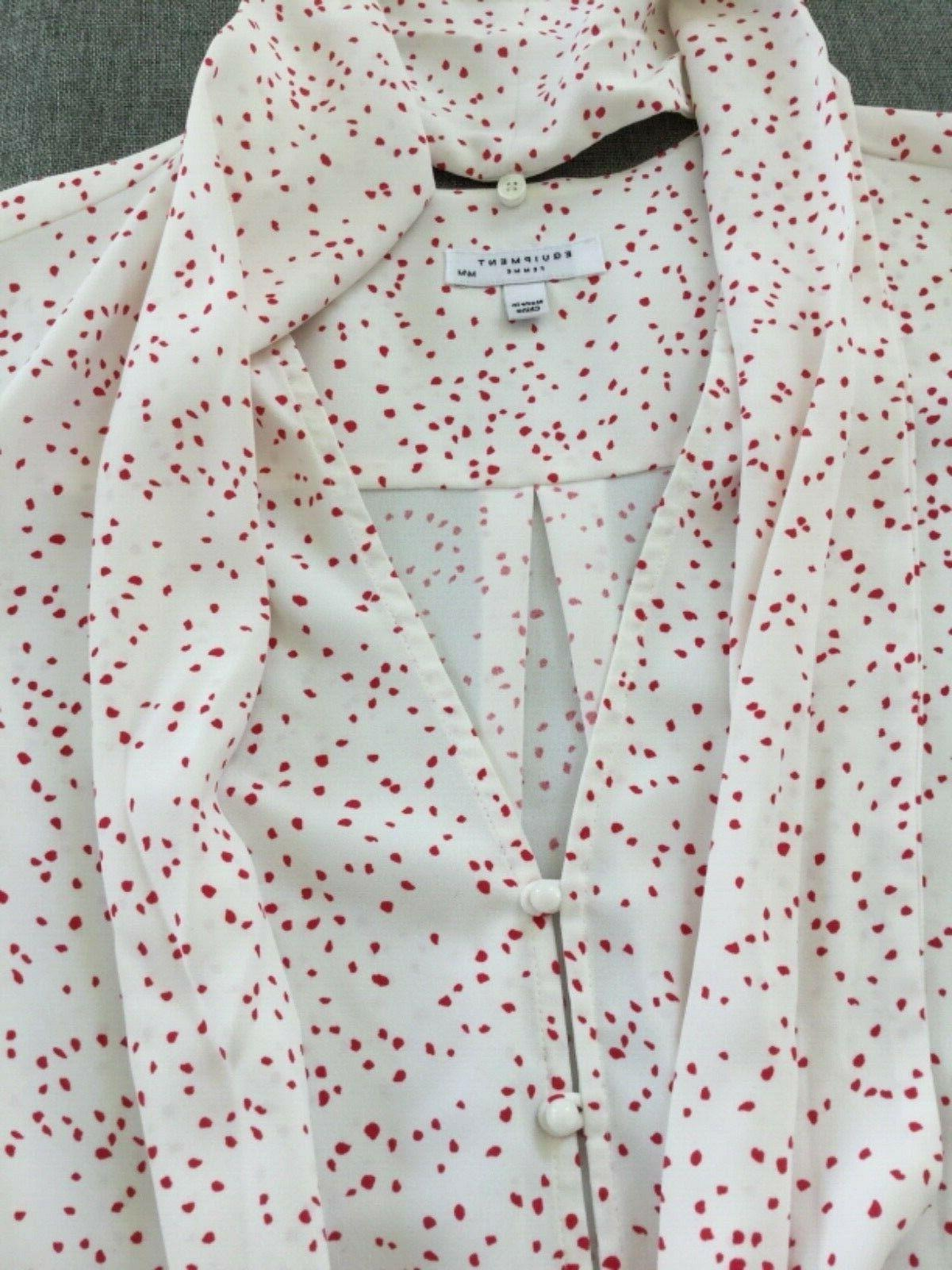 Equipment Haty Neck Printed Top Blouse White/Scarlet