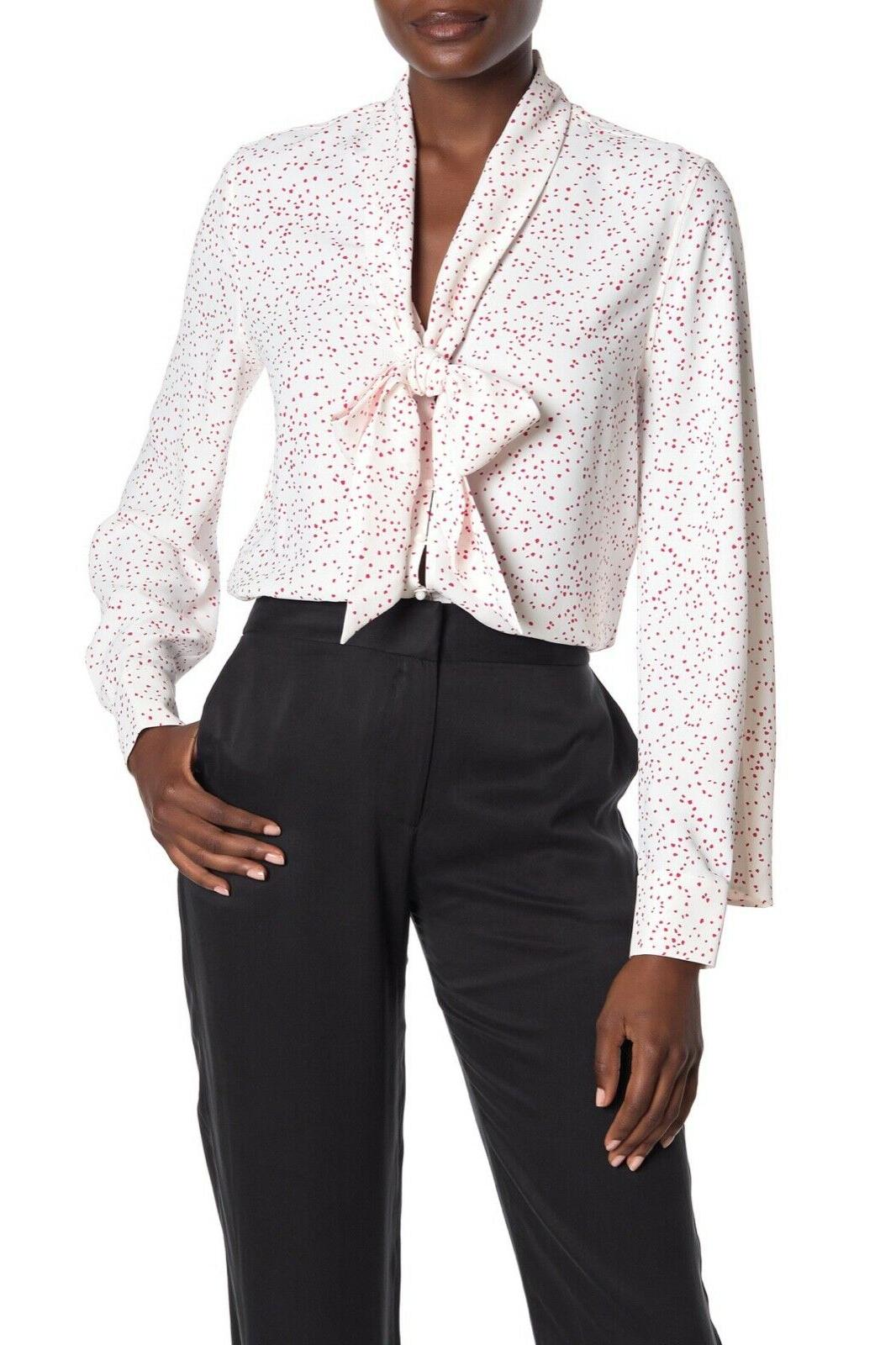 haty neck tie printed top blouse in
