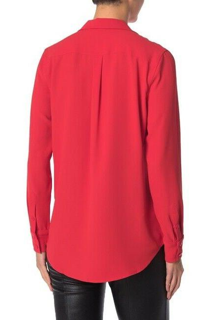 Equipment Keira Blouse Collared Pocket Long Button Up NWT