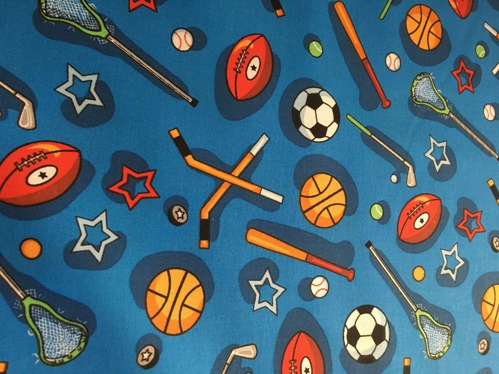 kids choice sports equipment on blue by