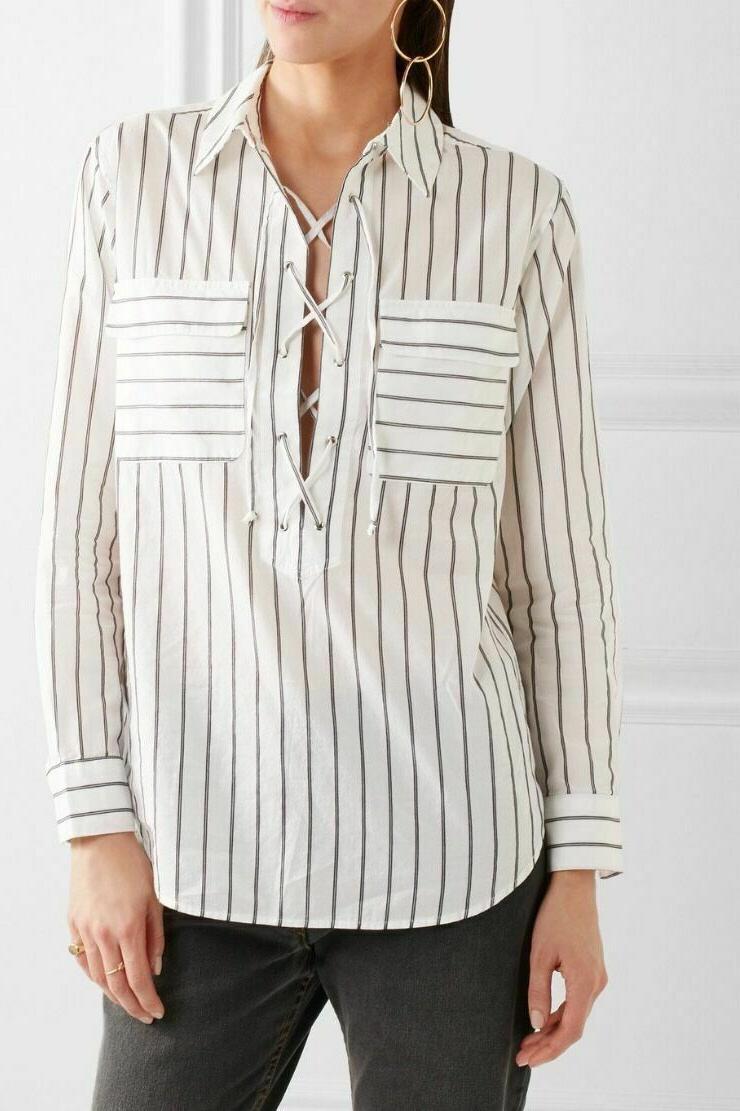 Women's Stripe Shirt, Size - White