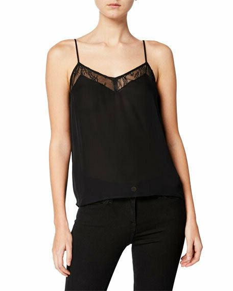 layla silk cami with lace trim in