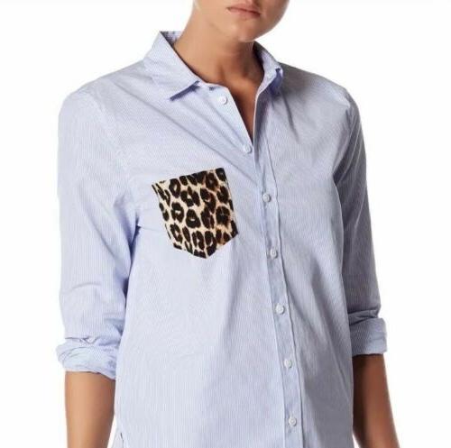 leema size medium pocket detail stripe shirt