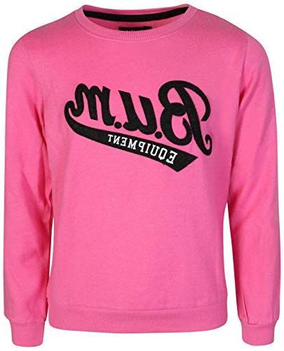 B.U.M. Equipment Sleeve Fleece Sweater, Black/Fuchsia,