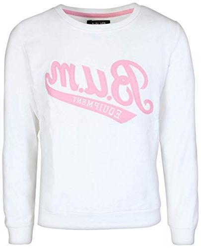 B.U.M. Girls Long Sleeve Pullover Grey/White, Large'