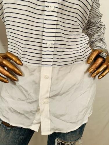 Equipment Striped Sheer Button Long Slvs