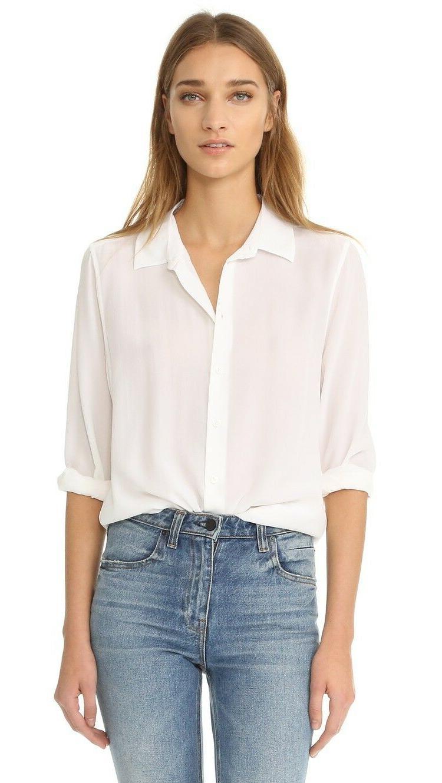 MIC $228 Essential Silk Equipment Shirt White XS/S/M/L