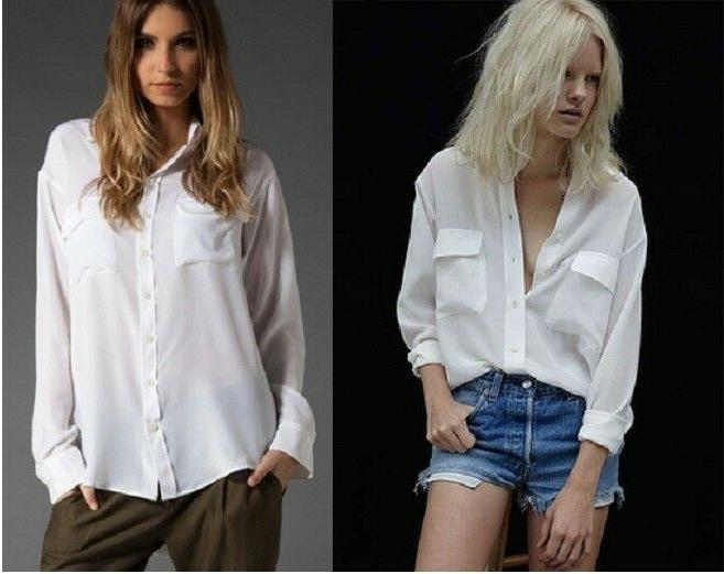 new 208 slim signature silk blouse shirt