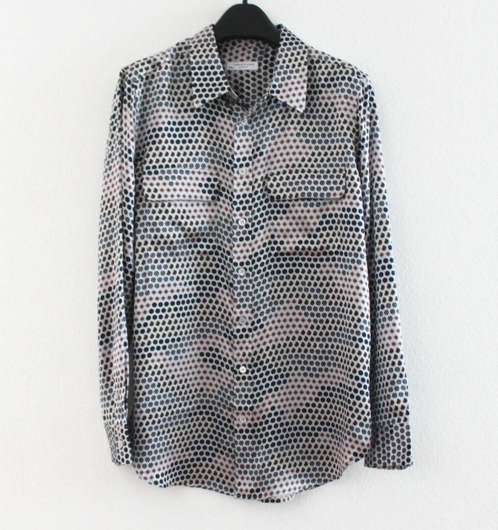New Equipment $278 Slim Signature Silk Shirt, Grey L