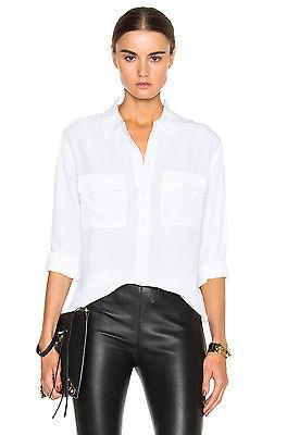 NEW AUTH Signature Silk Shirt $214, White,