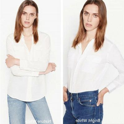 NEW AUTH Equipment SLIM Signature Silk Shirt $214, White, Q2