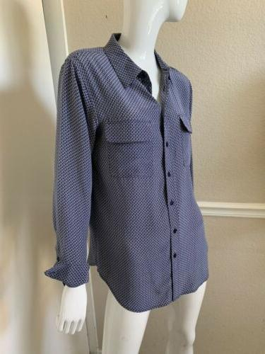 Equipment Femme Blue/White Print Silk Blouse