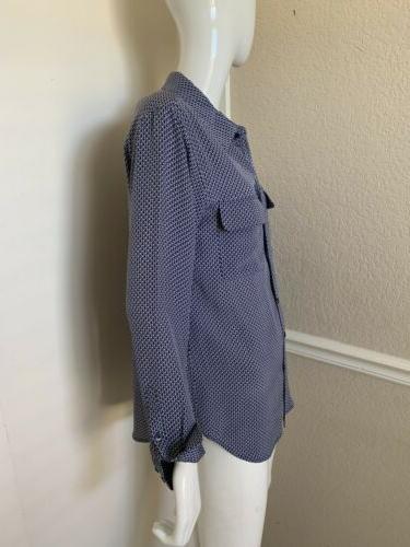 Equipment Blue/White Print Blouse Sz