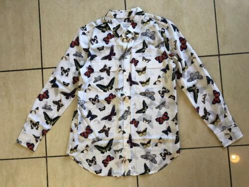 NWOT Equipment Slim Button Top in Butterfly