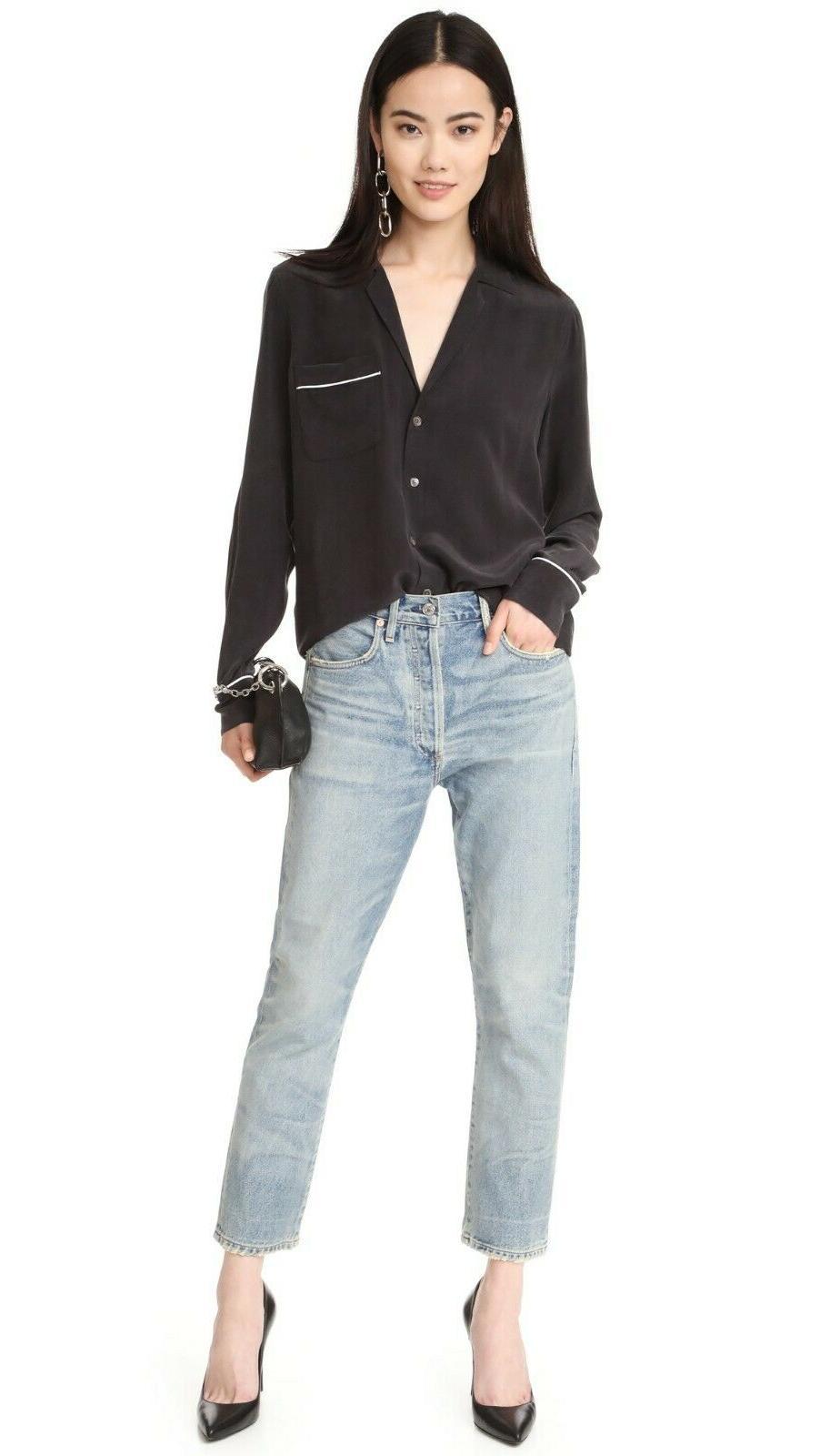 NWT Keira Silk Shirt Blouse, True Black Size S $218