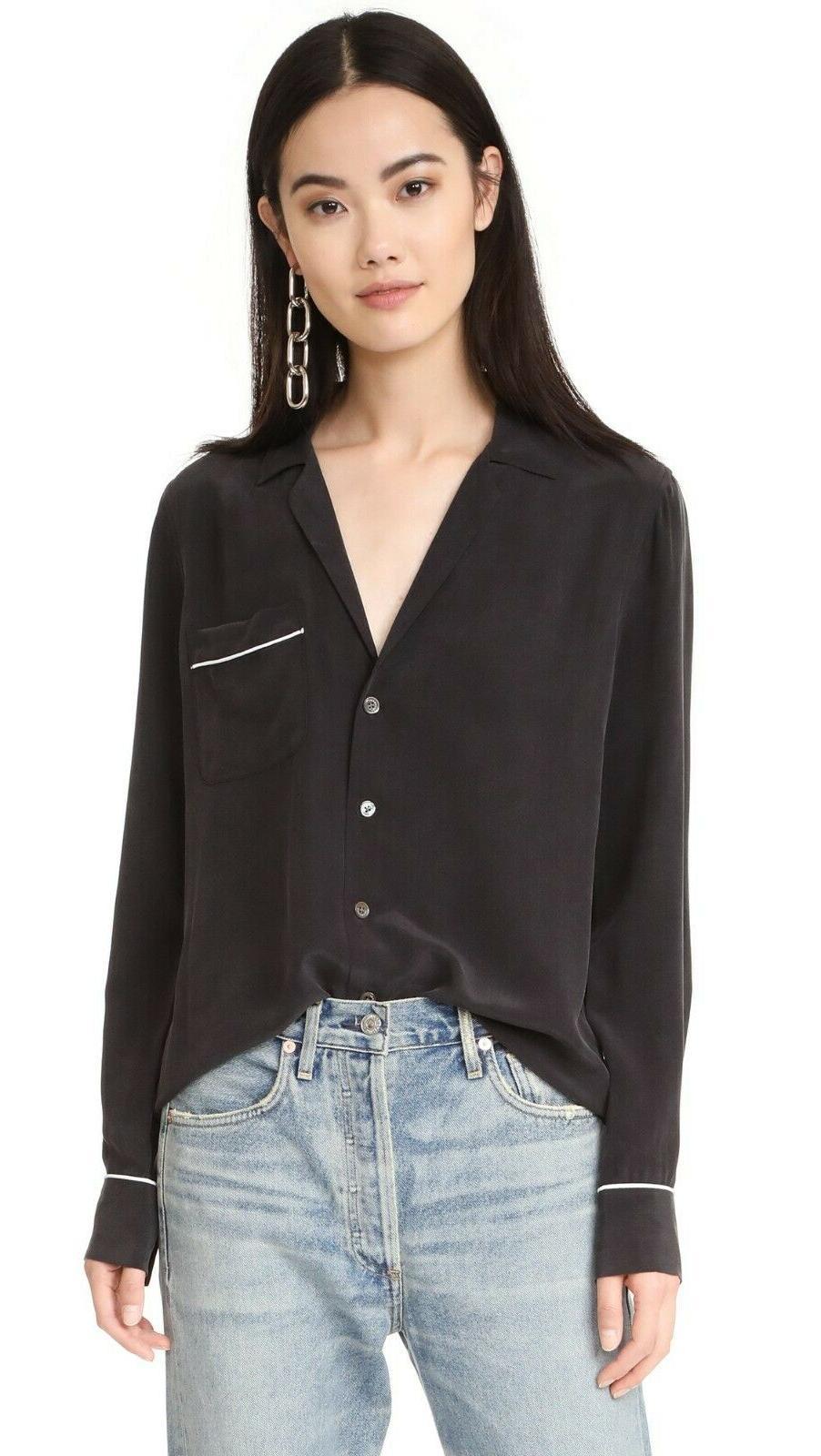 nwt keira silk shirt blouse true black